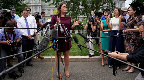 White House Press Secretary Sarah Sanders speaks to reporters at the White House (FILE PHOTO)