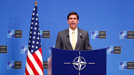 US Secretary of Defense Mark Esper speaks at a news conference following a NATO defense ministers meeting in Brussels, Belgium, February 13, 2020. © Reuters / Francois Lenoir