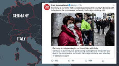 'Go back to school and look at the map!' Twitterati hammer CNN as it draws non-existent SHARED border between Germany & Italy