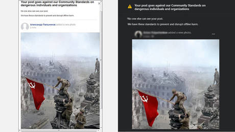 Screenshots show Facebook's automated warning after RT employees tried posting the photo, taken by Yevgeny Khaldei and colorized by Olga Shirnina (aka Klimbim).