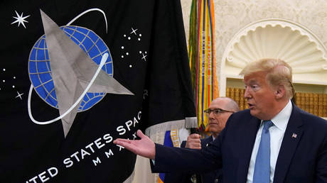 President Donald Trump presents the US Space Force flag, May 15, 2020