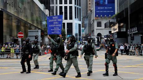 Riot police disperse anti-government demonstrators in Hong Kong, China May 27, 2020.