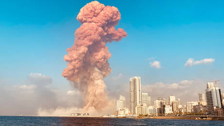 An explosion in Beirut, Lebanon, August 4, 2020