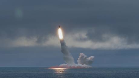 FILE PHOTO: A test launch of a Russian RSM-56 Bulava sumarine-launched ballistic missile.