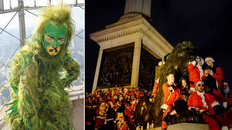 (L) A person in a Grinch costume. © Bryan Smith; (R) Christmas celebration in London in 2017. © Zuma Press via Global Look Press / Jay Shaw Baker