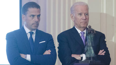 FILE PHOTO: Hunter Biden introduces his father Vice President Joe Biden during the World Food Program USA's 2016 McGovern-Dole Leadership Award Ceremony at the Organization of American States on April 12, 2016 in Washington, DC