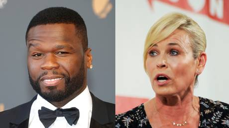 Chelsea Hander (R), shown in a 2017 political event, scolded 50 Cent, pictured at a festival the same year, for endorsing President Trump.