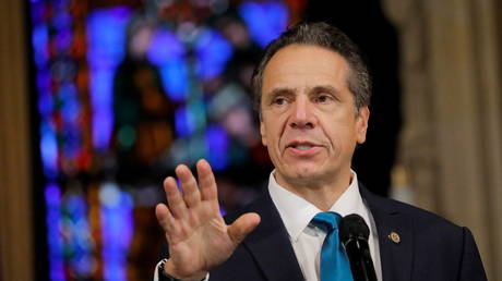 New York Governor Andrew Cuomo is shown speaking at a church in Manhattan earlier this month.
