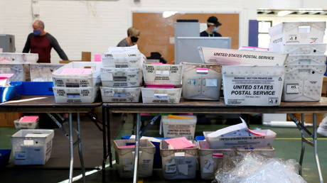 Mail-in ballots being counted in Pennsylvania, November 4, 2020.