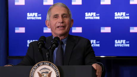 Dr. Anthony Fauci is shown speaking at a White House event on Friday promoting the safety of Pfizer's Covid-19 vaccine.