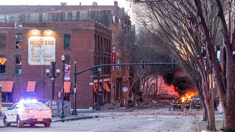 Debris litters the road near the site of an explosion in the area of Second and Commerce in Nashville, Tennessee, U.S. December 25, 2020