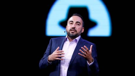 Alex Stamos is shown speaking at the 2017 Black Hat information security conference in Las Vegas.