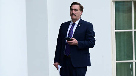 FILE PHOTO: Mike Lindell, CEO of MyPillow, stands outside the West Wing of the White House in Washington, DC, January 15, 2021.