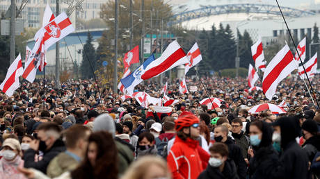 An anti-government protest in Minsk, Belarus, October 2020. © AFP