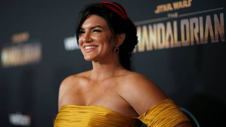 "Gina Carano is shown at the 2019 premiere of ""The Mandalorian"" in Los Angeles."