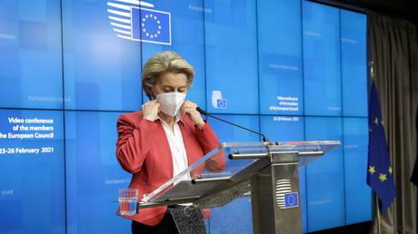 European Commission President Ursula von der Leyen speaks in Brussels, Belgium on February 25, 2021.