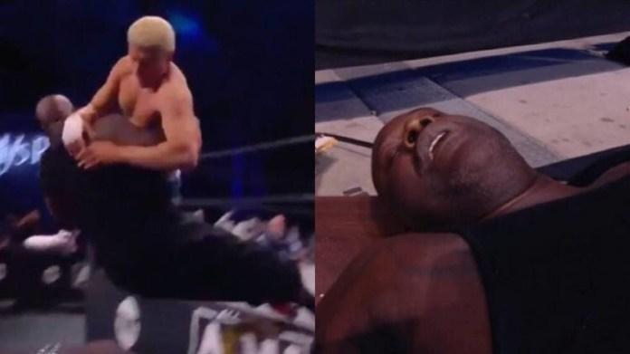 NBA giant Shaquille O'Neal ends up in ambulance after bare knuckle fan is slammed backwards over table on wrestling return (VIDEO)