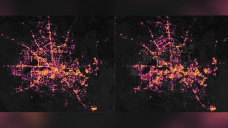 Houston on February 7 (left) and during the rolling blackouts on February 16 (right). © NASA Earth Observatory