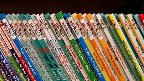 Books by Dr. Seuss are displayed in a bookstore in Brooklyn, New York, March 2, 2021.