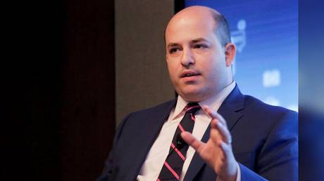 CNN host Brian Stelter is shown speaking at a 2017 event in New York.