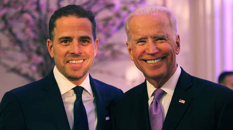 FILE PHOTO: Hunter Biden (L) and Joe Biden at the World Food Program USA's Annual McGovern-Dole Leadership Award Ceremony at Organization of American States on April 12, 2016 in Washington, DC