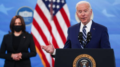 President Joe Biden is shown during a Covid-19 press briefing Monday at the White House.