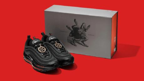 A pair of MSCHF's 'Satan Shoes' © MSCHF