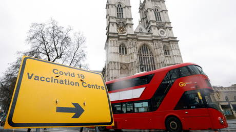 FILE PHOTO: A sign is seen outside a vaccination centre at Westminster Abbey, amid the outbreak of coronavirus disease (COVID-19), in London, Britain, March 10, 2021