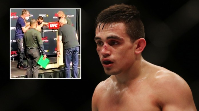 Shocking scenes as UFC fighter struggles to stand