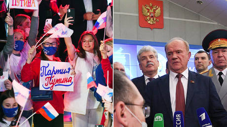 (L) The United Russia political party's supporters. © Sputnik / Ramil Sitdikov; (R) Leader of the Russian Communist Party Gennady Zyuganov speaks to the media at the Russian Central Election Commission in Moscow, Russia. © Sputnik / Alexey Maishev