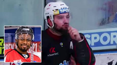 Andrei Deniskin was caught on camera making a racist gesture © Instagram / _jsmereck5 | © YouTube / Ukrainian Hockey League