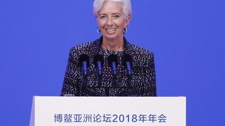 Christine Lagarde, le 9 avril 2018 lors de son intervention au sommet  du Conseil de coopération économique du Pacifique, à Bao en Chine, deux jours avant l'ouverture de la réunion du FMI à Hing Kong.