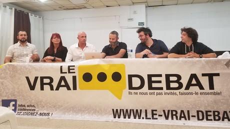 Conférence de presse du groupe «Le vrai débat», le 24 mai 2019, à Paris.