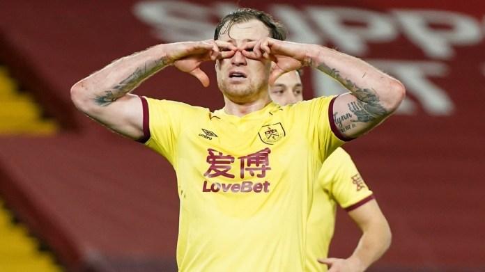 Burnley striker enjoys his goal