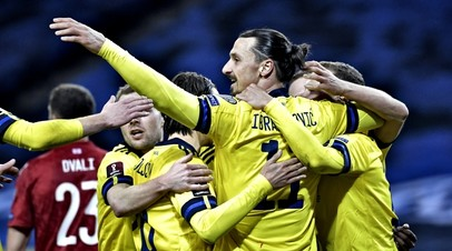 The footballers of the Swedish national team in the match with the Georgian team