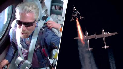 Ричард Брэнсон и космический самолет VSS Unity компании Virgin Galactic
