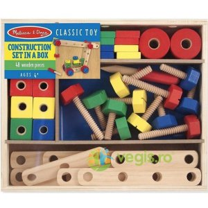 MELISSA AND DOUG Construction set. Set din lemn de construit cu suruburi