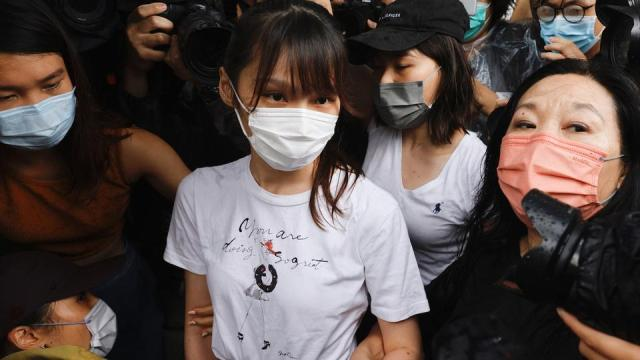 Pro-democracy activist Agnes Chow releases from prison after serving nearly seven months for her role in an unauthorised assembly during the city's 2019 anti-government protests, in Hong Kong, China on June 12,