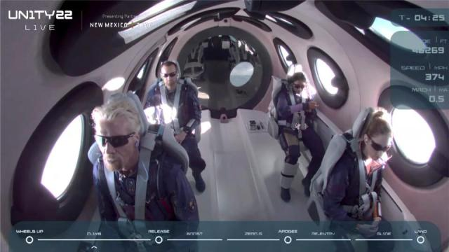 Billionaire Richard Branson and crew are seen on board Virgin Galactic's passenger rocket plane VSS Unity before starting their untethered ascent to the edge of space, New Mexico, on July 11, 2021.