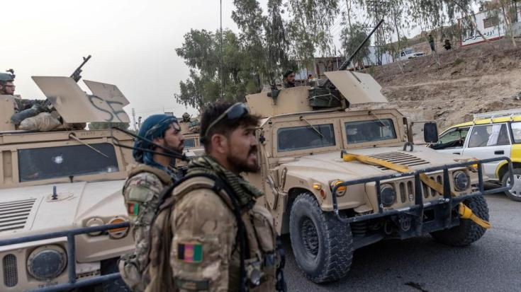 A convoy of Afghan Special Forces is seen during the rescue mission of a policeman besieged at a check post surrounded by Taliban, in Kandahar province, Afghanistan, July 13, 2021.