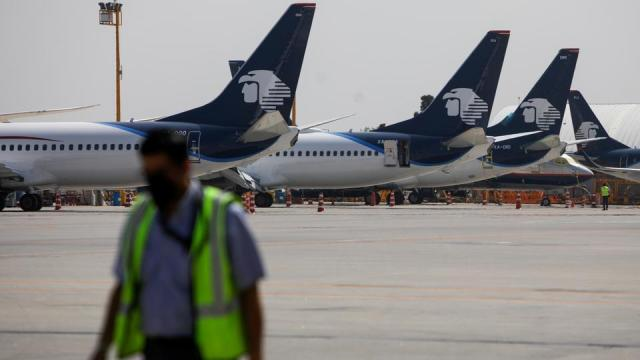 Aeromexico airplanes are pictured at the Benito Juarez International airport, in Mexico City, Mexico, July 14, 2021.