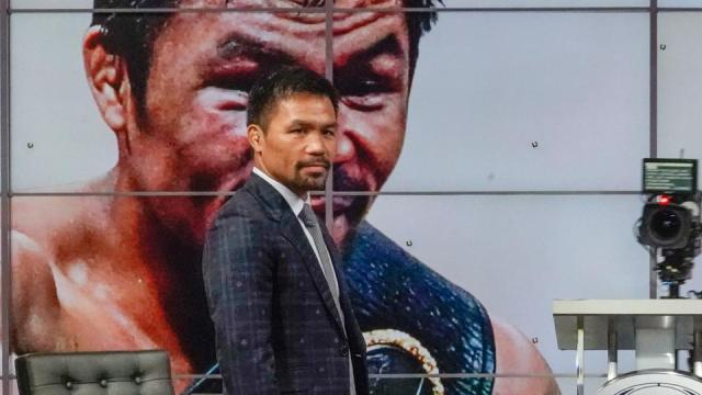 Manny Pacquiao attend a news conference at the Fox Studios lot in Los Angeles ahead of upcoming boxing match, Los Angeles, Sunday, July 11, 2021.