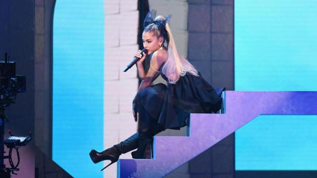 In this file photo taken on May 20, 2018 recording artist Ariana Grande performs onstage during the 2018 Billboard Music Awards at MGM Grand Garden Arena in Las Vegas, Nevada.