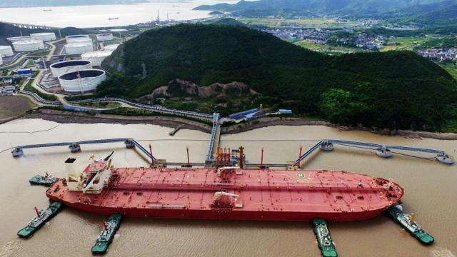 A VLCC oil tanker is seen at a crude oil terminal in Ningbo-Zhoushan port, Zhejiang province, China.