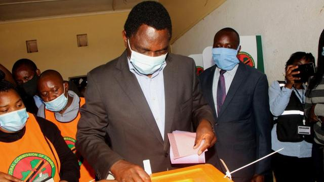 Opposition UPND party's presidential candidate Hakainde Hichilema casts his ballot in Lusaka, Zambia, on August 12, 2021.