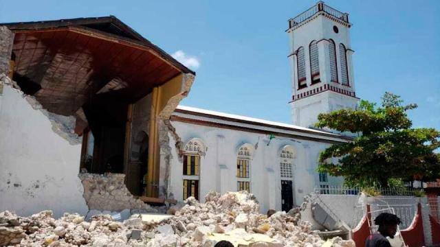 Sacred Heart church is damaged after an earthquake in Les Cayes, Haiti, Saturday, August 14, 2021.