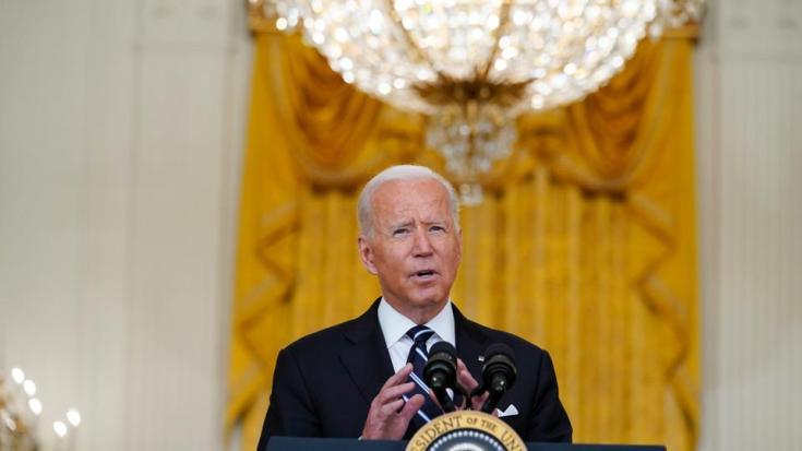 President Joe Biden speaks from the East Room of the White House in Washington, August 18, 2021