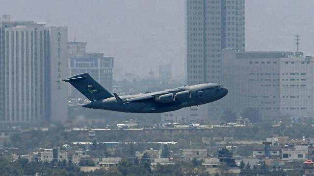 An US Air Force aircraft takes off from the airport in Kabul on August 30, 2021.