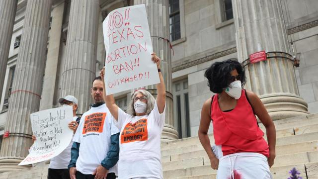 People gather for a reproductive rights rally at Brooklyn Borough Hall on September 01, 2021 in Downtown Brooklyn in New York City.
