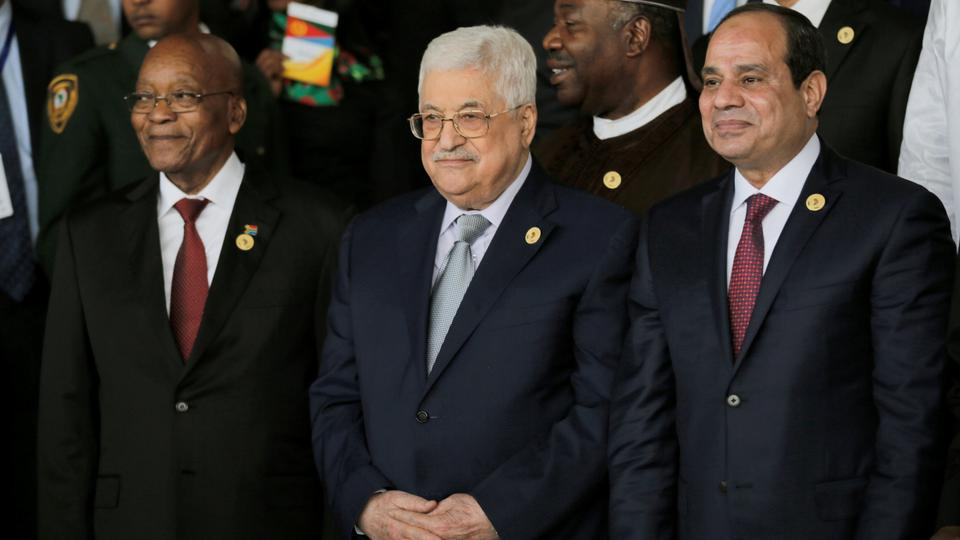 South Africa's President Jacob Zuma, Palestine's President Mahmoud Abbas and Egypt's President Abdel Fattah Sisi pose for a photograph at the 30th Ordinary Session of the Assembly of the Heads of State and the Government of the African Union in Addis Ababa, Ethiopia. January 28, 2018.